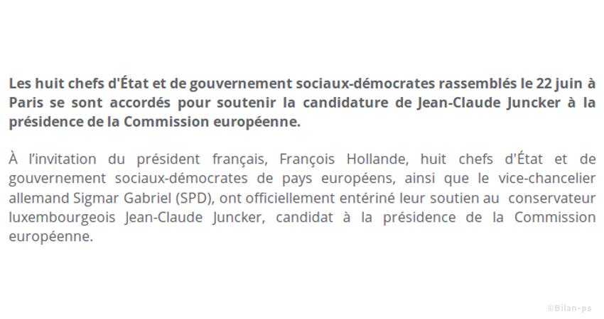 Le PS soutient Juncker à la présidence de la Commission