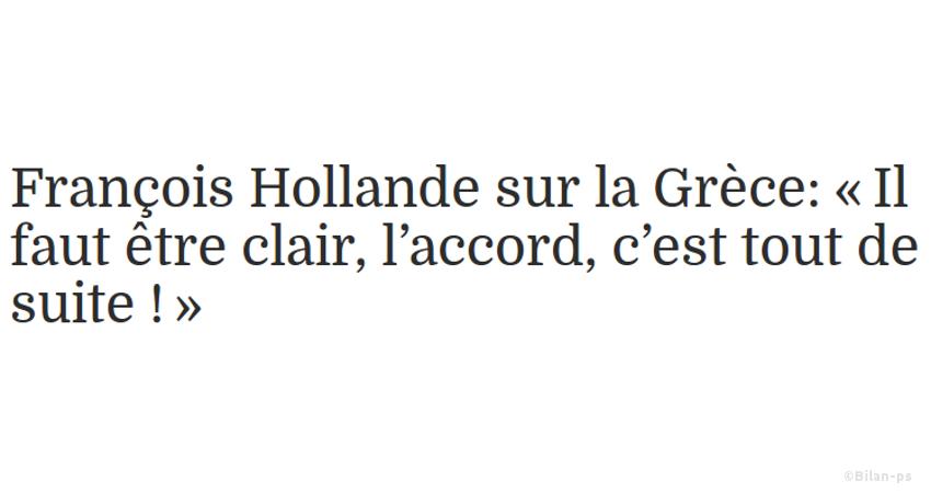 Hollande pousse Tsipras à accepter un accord avec la Troïka