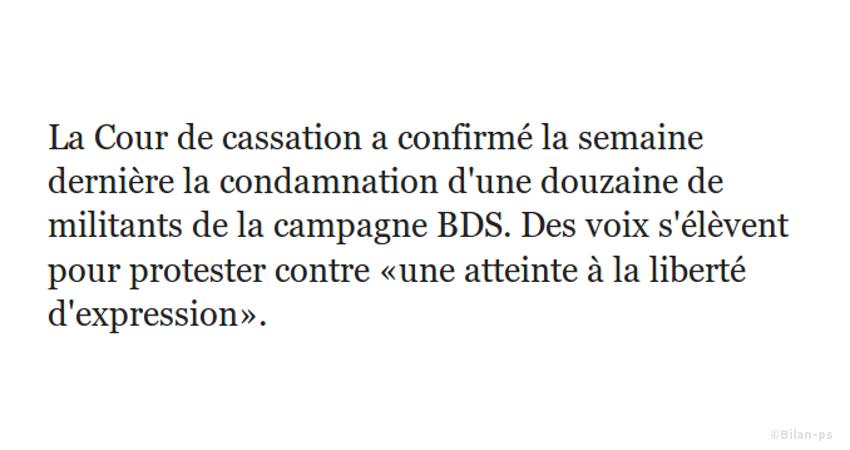 Le boycott anti-israélien est illégal en France