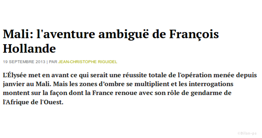 Mali: l'aventure ambiguë de François Hollande