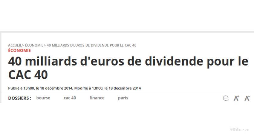 40 milliards de dividendes en 2015
