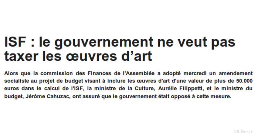 ISF : Les œuvres d'art ne seront pas taxées