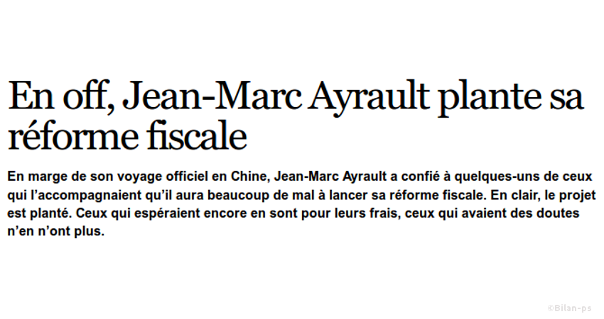 Abandon de la grande réforme fiscale Ayrault