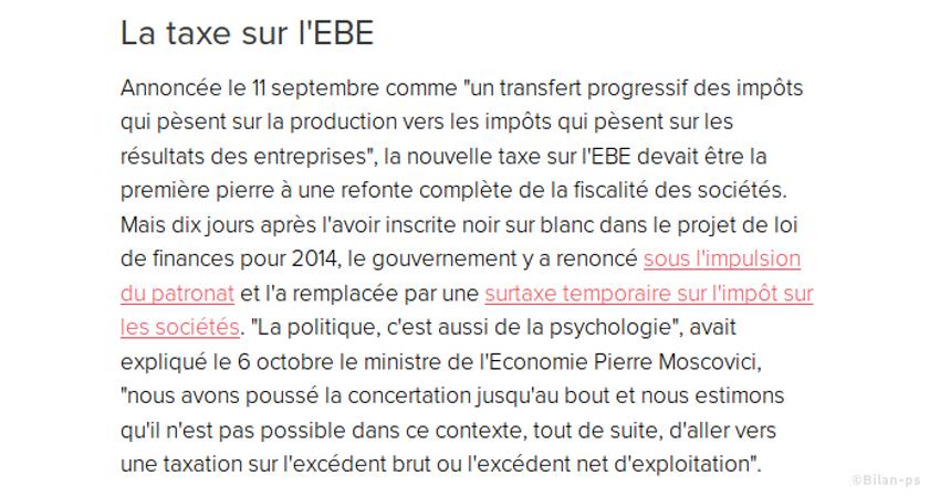 Recul sur la taxe sur l'EBE