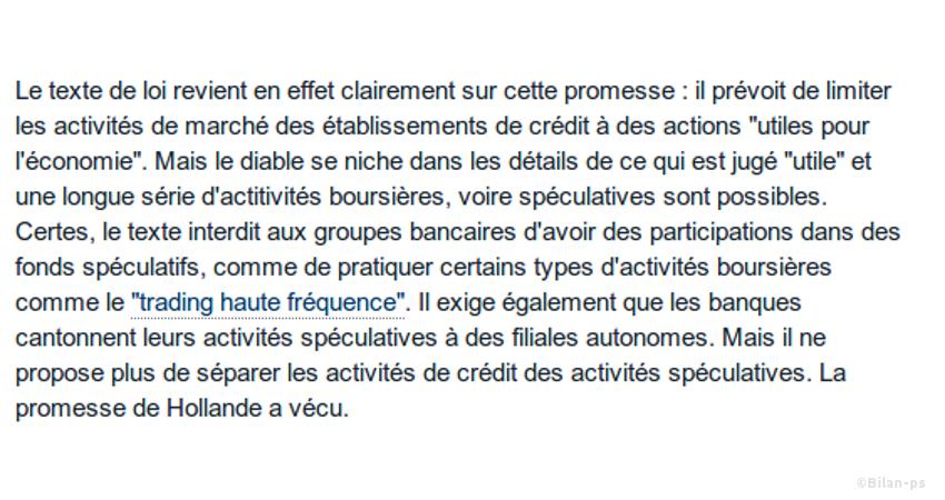 Ce qu'il reste de la réforme bancaire de François Hollande