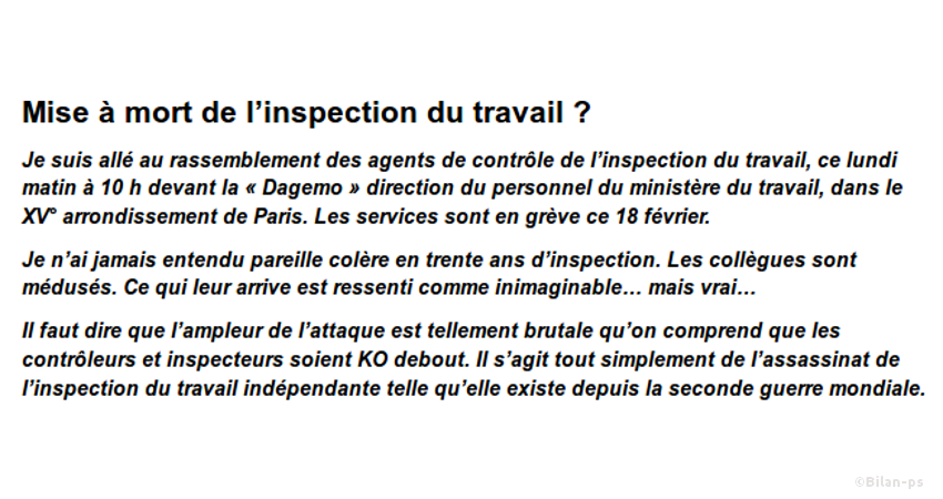 Destruction de l'Inspection du Travail