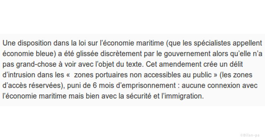 Amendement pour interdire l'accès du port de Calais aux migrants