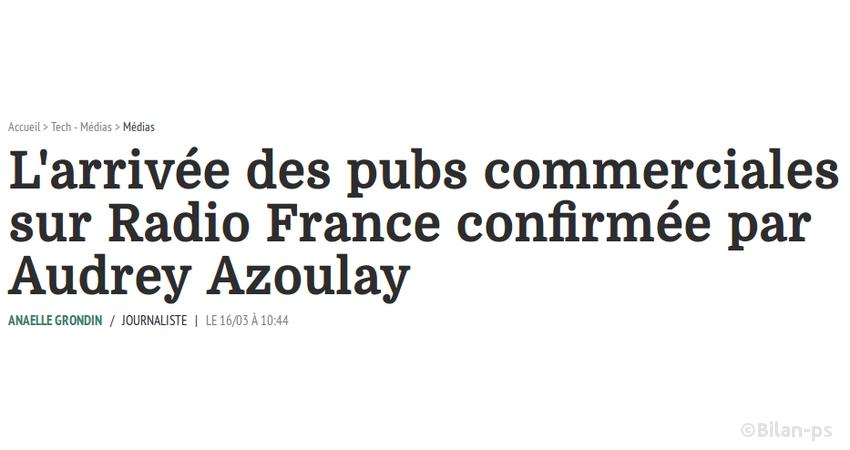 Arrivée de la publicité commerciale sur Radio France