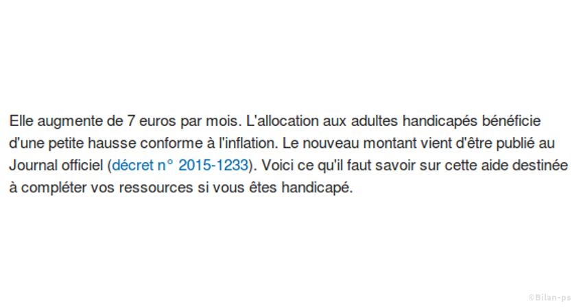 Hausse de l'allocation handicapés de 7€