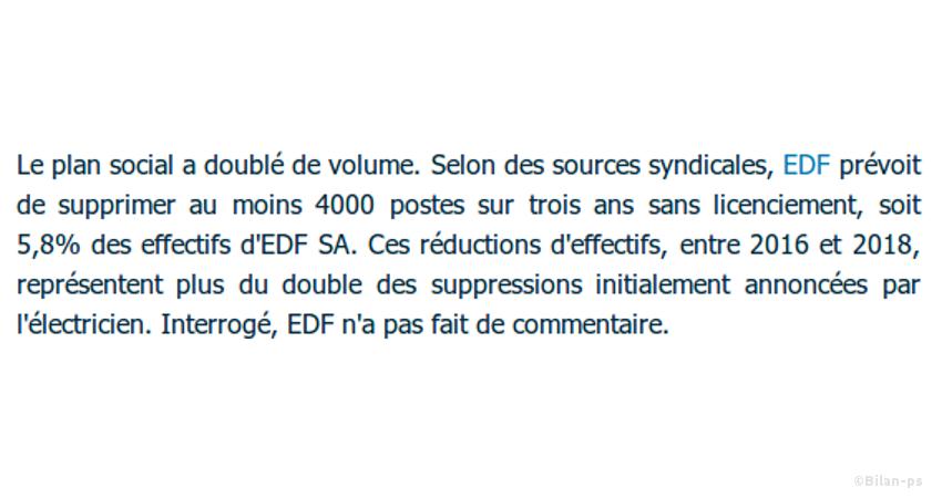 EDF prévoit la suppression d'au moins 4.000 postes
